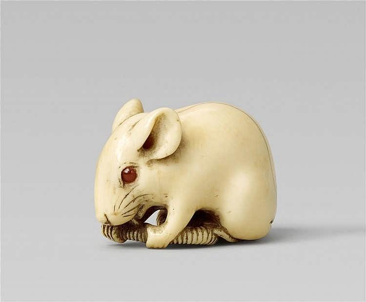 巨型老鼠根付, Okanobu, 約1800年