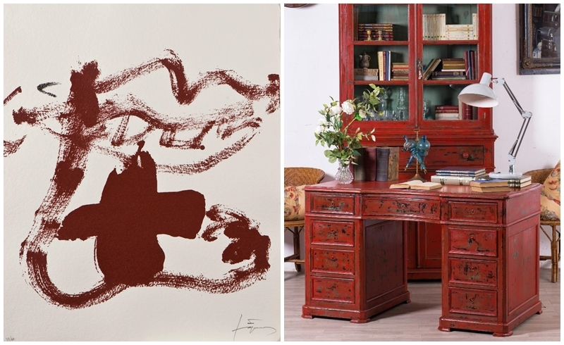 """Left: ANTONI TÀPIES. """"An inexhaustible hope"""" (2004). Photo: Royal Auction.  Right: Antique desk turned red (19th century). Photo via: Allcollection."""