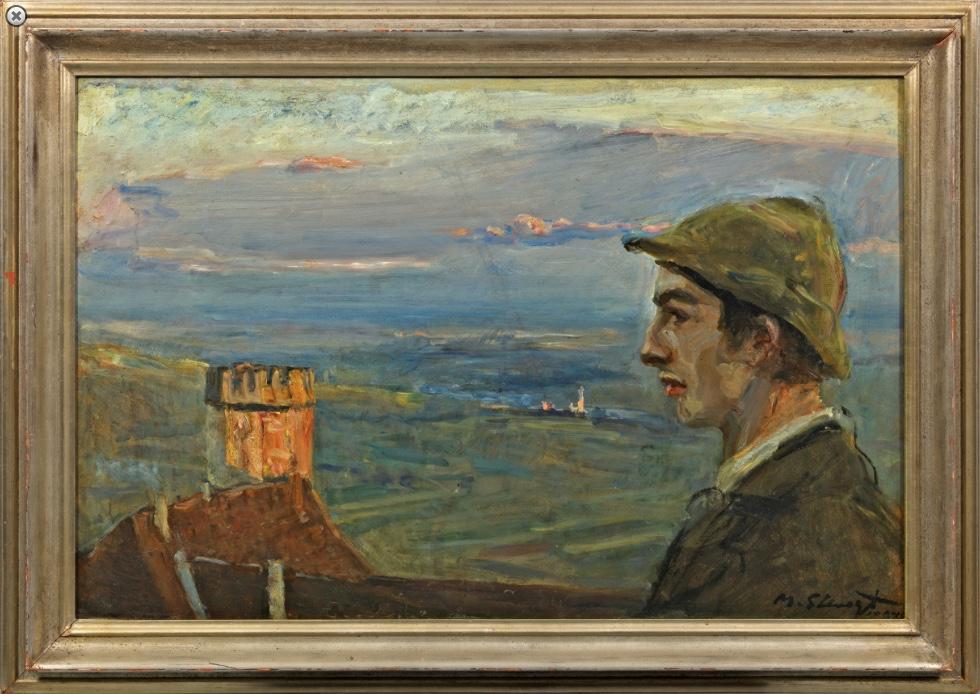 """MAX SLEVOGT (1868 Landshut - 1932 Neukastel) - """"Buwi Griesinger mit Ausblick über Neukastel"""", Öl/Karton/Lwd., signiert und datiert, 1897"""