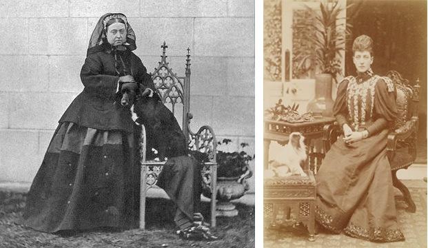 Links: Queen Victoria mit ihrem Collie Sharp | Foto via avictorian.com Rechts: Alexandra Princess of Wales mit einem ihrer Hunde | Foto via mimimatthews.com