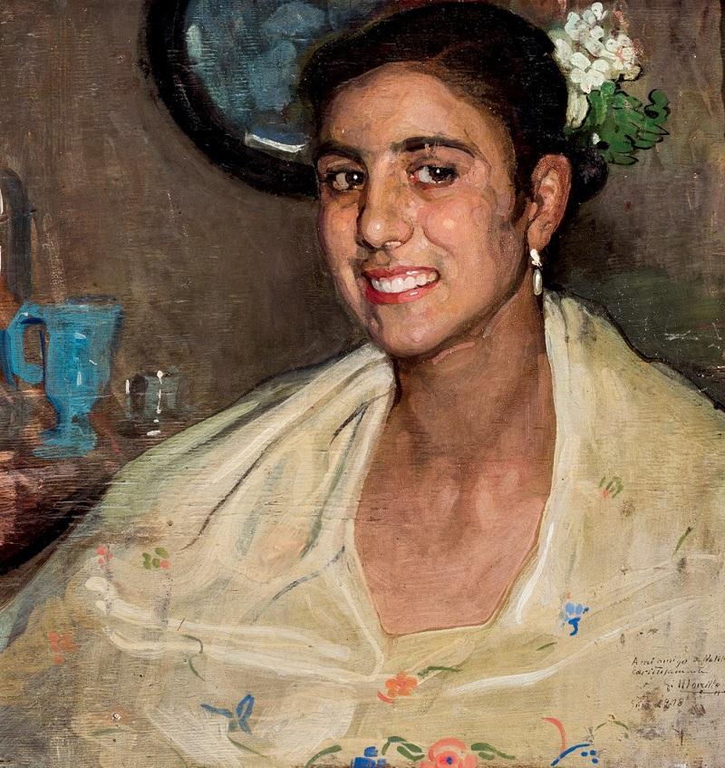 Lote 161: GABRIEL MORCILLO. Joven junto al espejo (1918). Precio de salida: 2.000 €