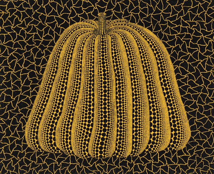 "Kusama Yayoi, ""Pumpkin"", acrylic on canvas, 1991, framed. Utropspris 1 110 000 SEK, Sotheby's"