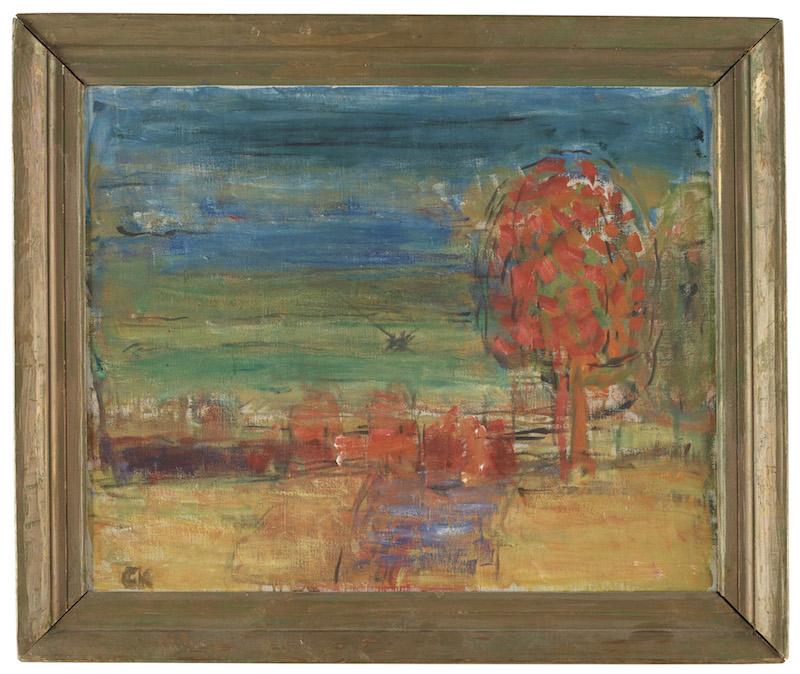 """Carl Kylbergs säregna måleri lockade makarna Börjseson. """"När rönnbären mogna"""" är en av de målningar som går under klubban på Bukowskis Signerad CK. Olja på duk 57 x 71 cm."""
