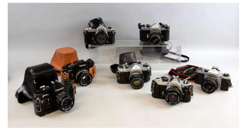 Colección de cámaras de 35 mm. con lentes
