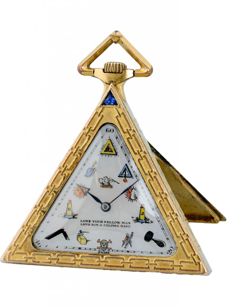 Fickur, frimurarklocka, triangelformad. Schweiz, 1910.