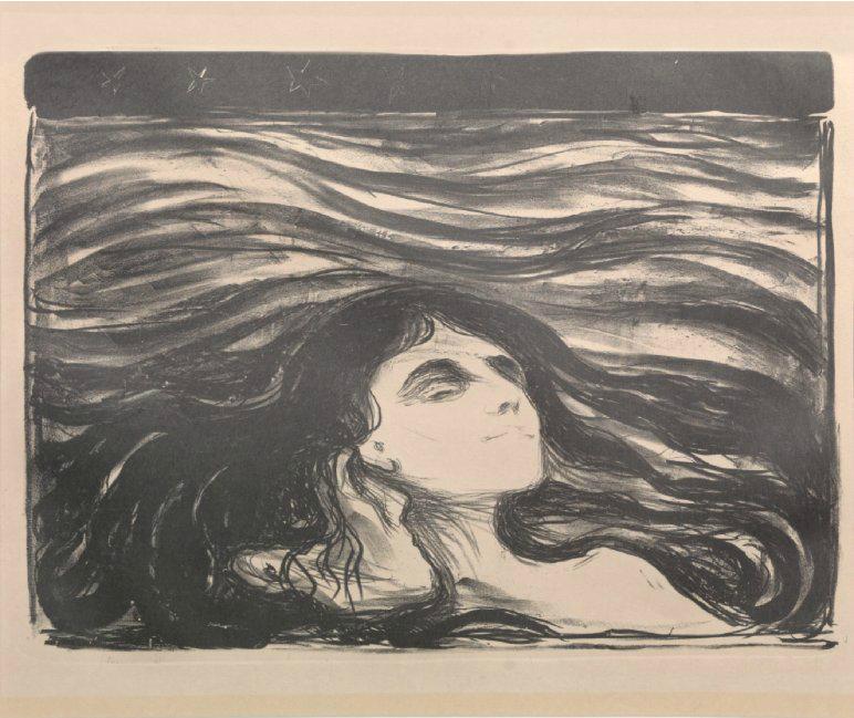 """Edvard Munch. """"På kjærlighetens bølger"""" / """"On the waves of love"""" 1896. Blomqvist."""