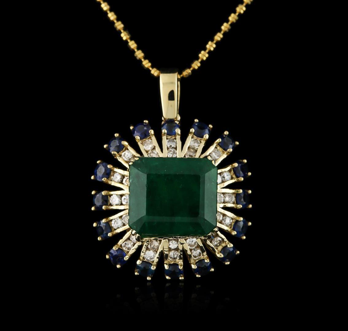Anhänger aus Roségold mit Smaragd, Saphiren und Diamanten an Kette