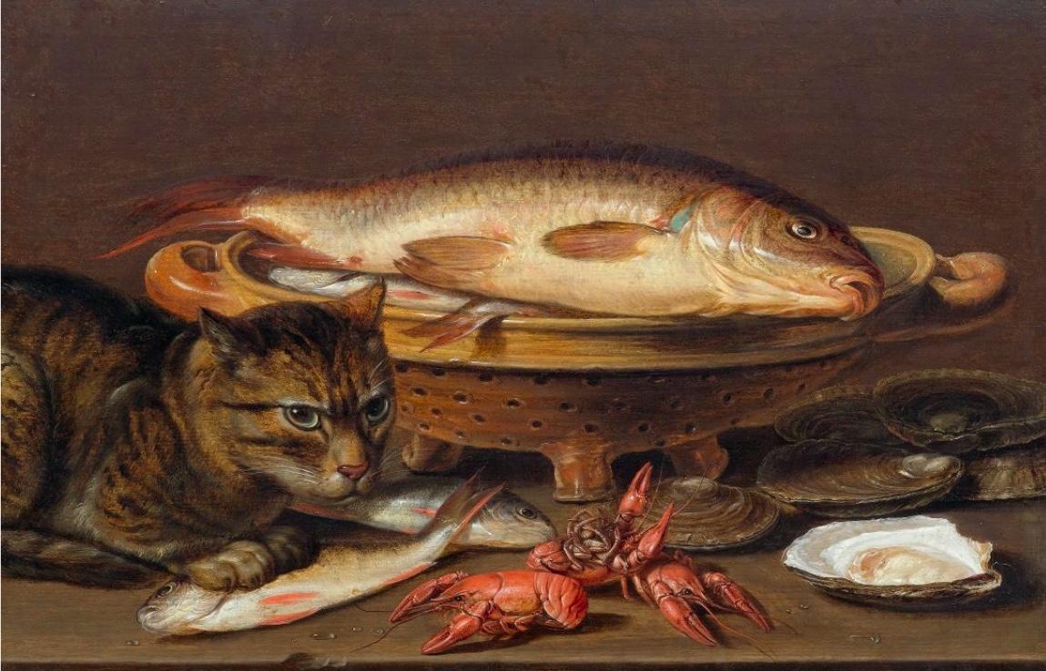 CLARA PEETERS (um 1590 Antwerpen um 1659) - Stillleben mit Katze, Fischen, Austern und Flusskrebsen, Öl/Holz, signiert