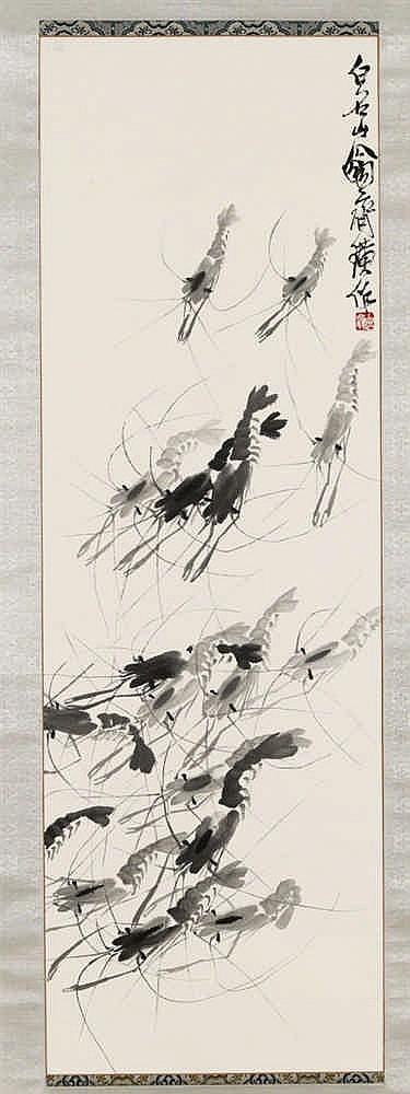 QI BAISHI (1864-1957) - Garnelen, Hängerolle, Tusche auf Papier, 101 x 33,3 cm, signiert Schätzpreis: 150.000-200.000 EUR