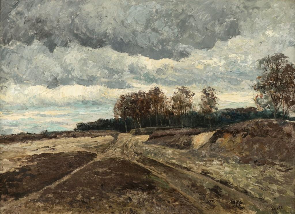 Carl Fredrik Hill, Höstlandskap år 1876. Foto: Åmells Konsthandel.