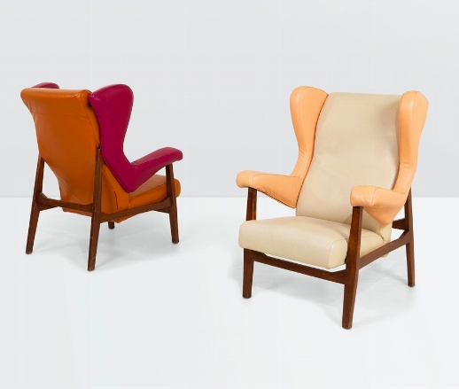 Franco Albini, Pair of Fiorenza Armchairs with a Wooden Structure. Photo: Cambi Casa d'aste