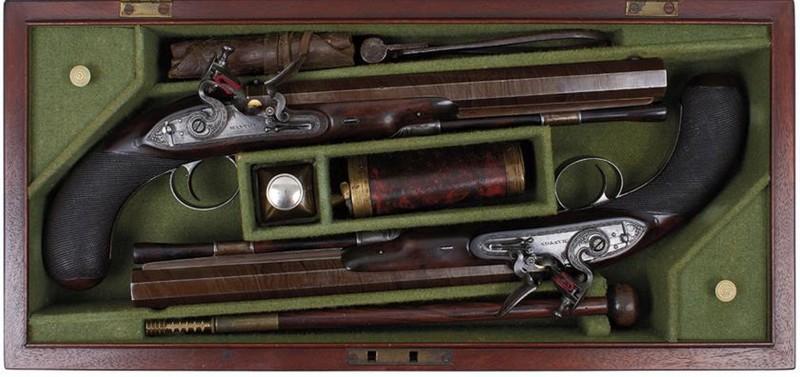A pair of flintlock duelling pistols made by John Manton. Photo: Antony Cribb Ltd.