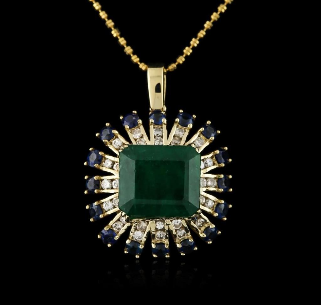 Pendentif émeraude, saphirs et diamants