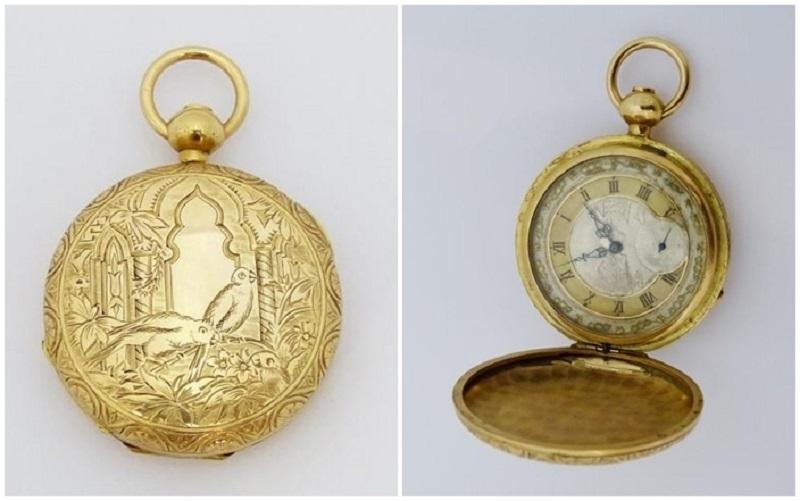Reloj saboneta suizo o francés en oro macizo con decoración orientalista (circa 1.870)