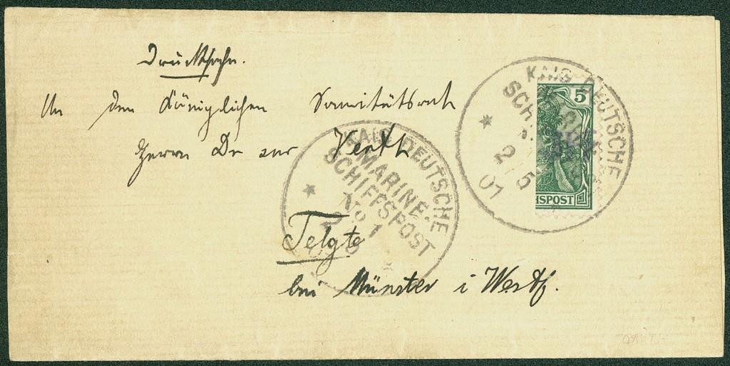 """Deutsches Reich - 3 PF auf 5 Pfg. Germania, senkrechte Halbierung (rechte Hälfte), das legendäre """"VINETA-PROVISORIUM"""""""