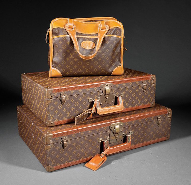Three Pieces of Vintage Louis Vuitton Luggage. Estimate $1,500 – $2,500. Photo via Neal Auction Company