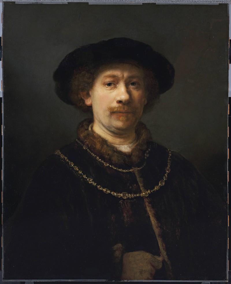 REMBRANDT HARMENSZOON VAN RIJN. Autorretrato con gorra y dos cadenas (c. 1642-1643). Museo Thyssen-Bornemisza, Madrid