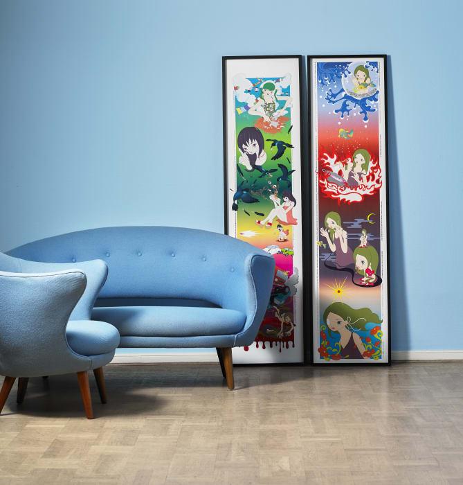 Fill Juhls ljusblåa möbler med teak respektive mahogny är tillverkade på början av 1950-talet av Søren Willadsen. Utropet är 200 000 danska kronor för möblemanget