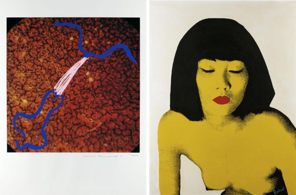 Links: MARINA ABRAMOVICH (*1946 Belgrad) - Ohne Titel, Farboffsetlithografie, 50,5 x 50,5 cm, nummeriert und signiert Schätzpreis: 250-350 EUR Rechts: ROBIN - Red Lips, Öl/Lwd., 116 x 88 cm, signiert, 20./21. Jh. Schätzpreis: 300-500 EUR