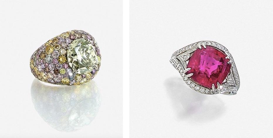 """Links: CARVIN FRENCH - Ring aus Platin mit seltenem """"Caméléon""""-Diamant (10,05 ct) und Farbbrillanten Rechts: WOLFERS - Ring aus Platin mit Brillanten und Rubin (8,02 ct)"""
