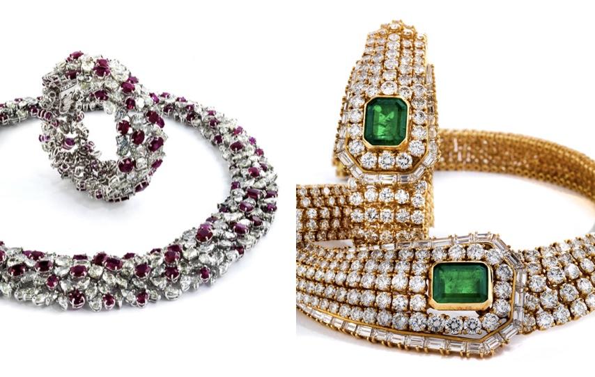 Links: Schmuckset (Collier und Armband) aus Weißgold mit Diamanten und Rubinen Schätzpreis: 280.000-350.000 EUR Rechts: Schmuckset (Collier und Armband) aus Gelbgold mit Diamanten und Smaragden Schätzpreis: 90.000-100.000 EUR