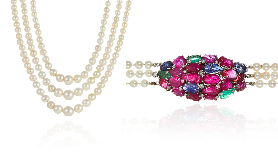 Natural Saltwater Pearl, Ruby, Sapphire, Emerald and Diamond Necklace, c. 1930. Photo: Elmwood's