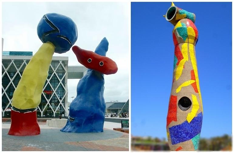 Links: JOAN MIRÓ - Deux personnages fantastiques. La Défense, Paris | Foto: Mary Ann Sullivan Rechts: JOAN MIRÓ - Dona i Ocell. Escultura. Parc de Joan Miró, Barcelona (1981)