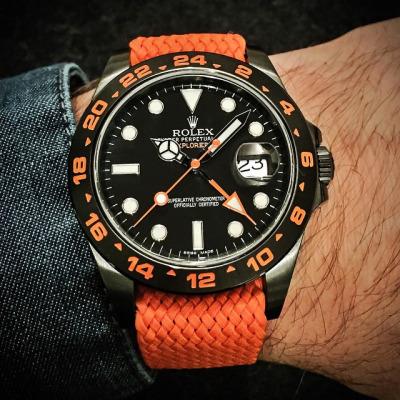 Todays Wristshot: Rolex Explorer II GMT on an orange perlonstrap(photo:whatchsdotcom)!