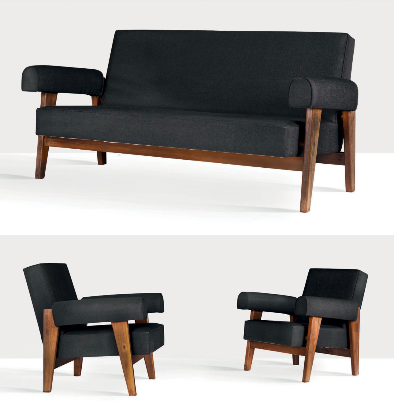 Pierre Jeanneret et Le Corbusier, canapé et deux chauffeuses pour Chandigarh