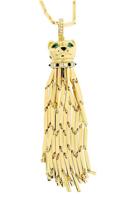 CARTIER - Sautoir aus Gelbgold, eingehängter Pantherkopf mit Quasten, 2 Smaragde, 21 Onyx, 18 Brillanten Schätzpreis: 20.000-26.000 CHF