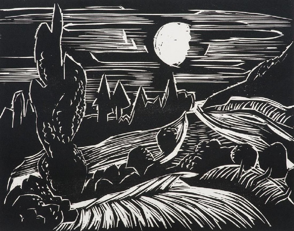 KARL SCHMIDT-ROTTLUFF (1884 Rottluff - 1976 Berlin) - Landschaft im Mondschein, Holzschnitt/Velin, signiert, 1927