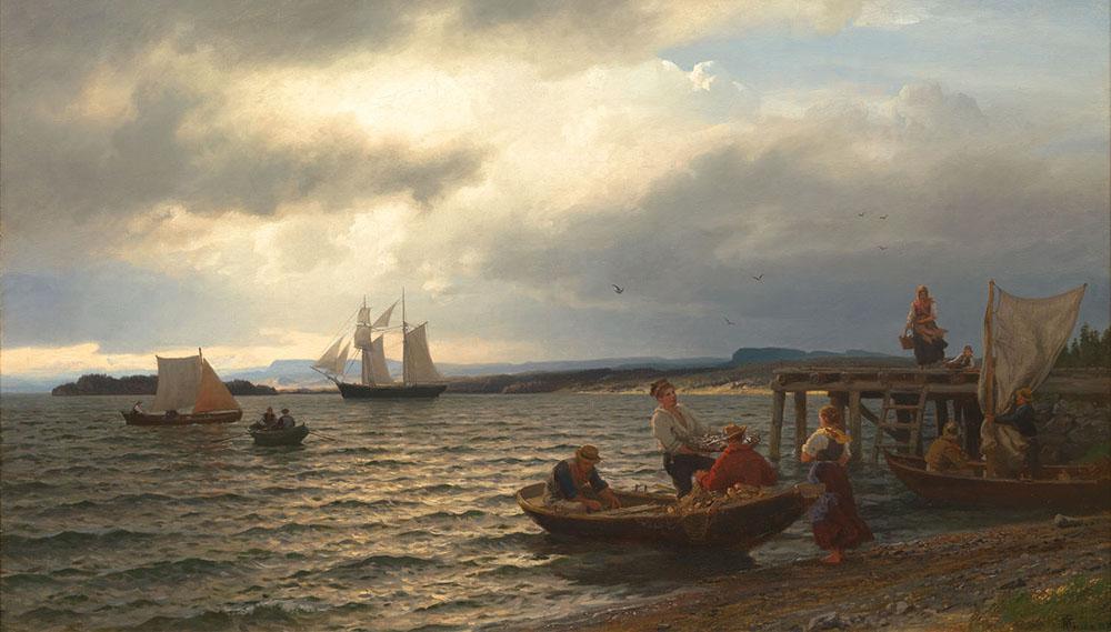 Hans F. Gude, Ved Christianiafjorden, år1874, såld för 850 000 norska kronor. Foto: Blomqvist.