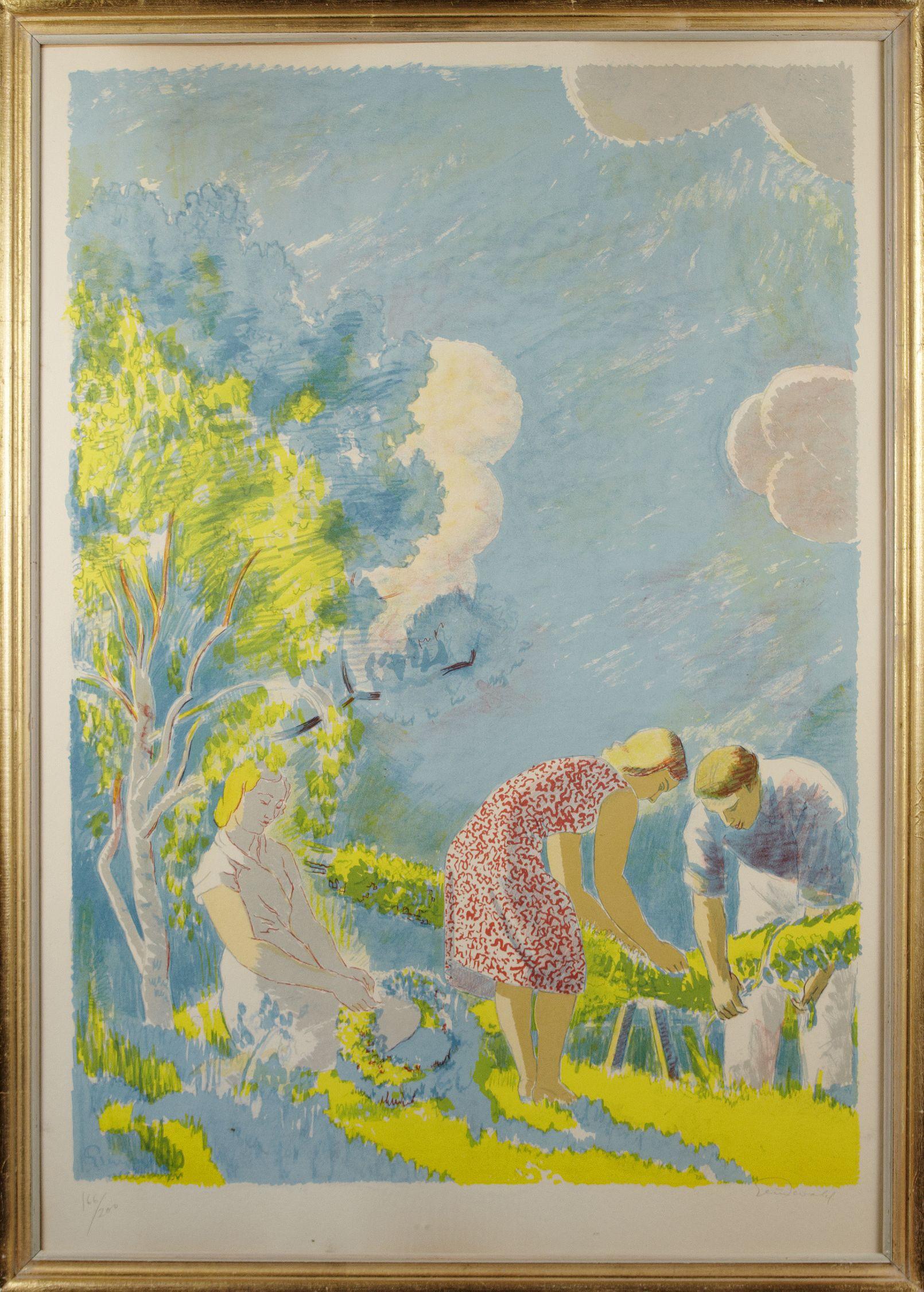 "Isaac Grünewald färglitografi ""Midsommar"""