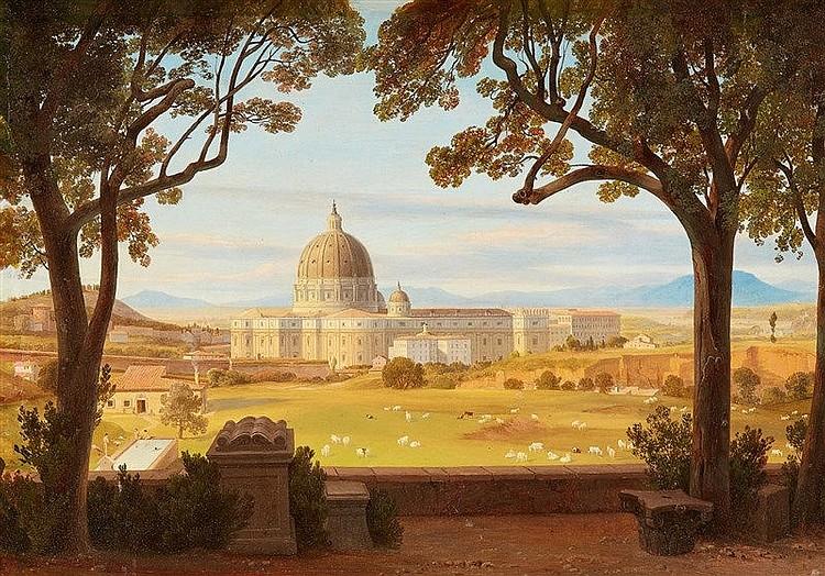 AUGUST WILHELM AHLBORN (1796 Hannover - 1857 Rom) - Blick von der Villa Pamphili auf den Petersdom, Öl/Lwd., signiert und datiert, 1850