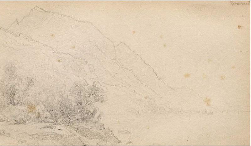 FRANÇOIS DIDAY. Paisaje de montaña en el lago de Ginebra. Tiza negra