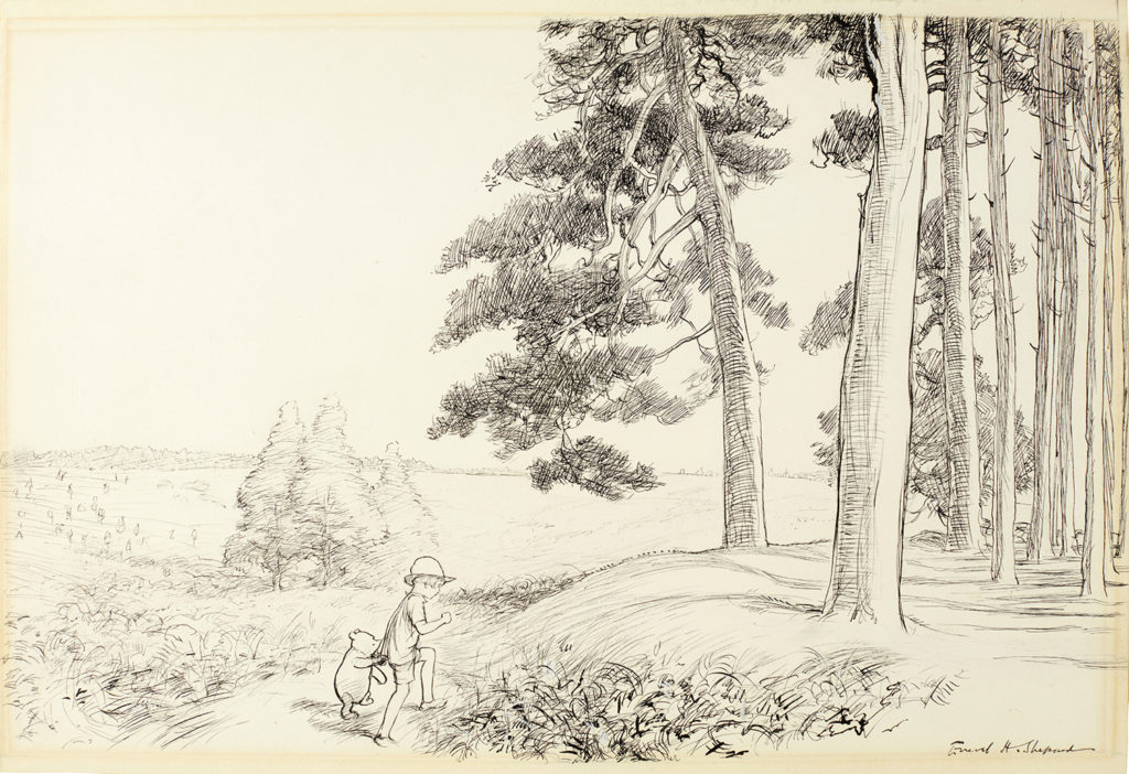 E.H. Shepard, « An enchanted place on the very top of the Forest, image ©Sotheby's