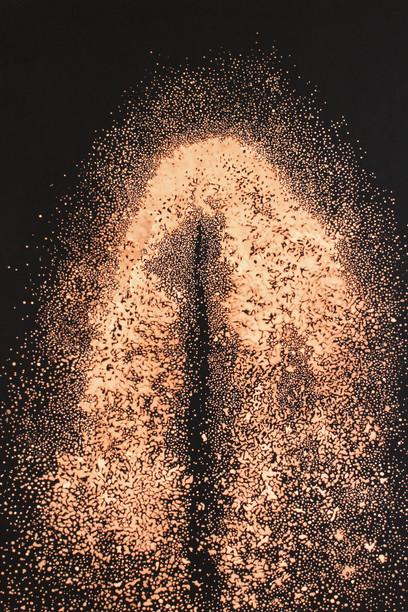 Simon Rulquin, Comet, 2015 Eau de javel sur toile teinte, 180 x 130 cm Simon Rulquin Courtesy: Galerie Xenon