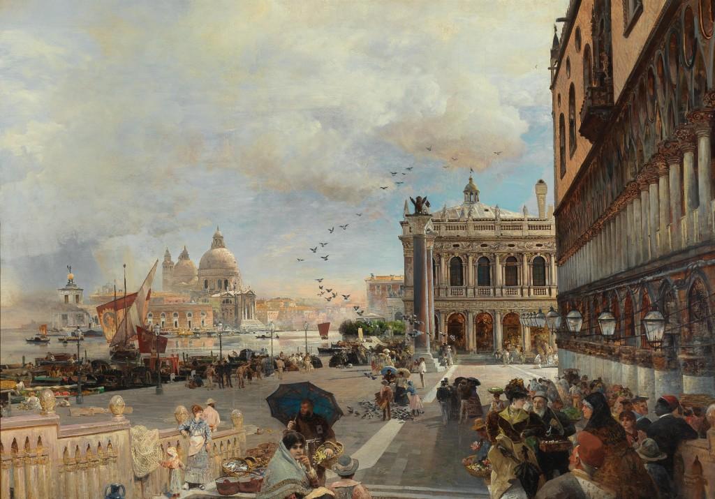 OSWALD ACHENBACH (Düsseldorf 1827–1905) - Venedig, Blick auf die Piazzetta mit der Biblioteca Marciana und Santa Maria della Salute und der Dogana, Öl/Lwd., 138,5 x 196 cm, signiert Schätzwert: 150.000-250.000 EUR