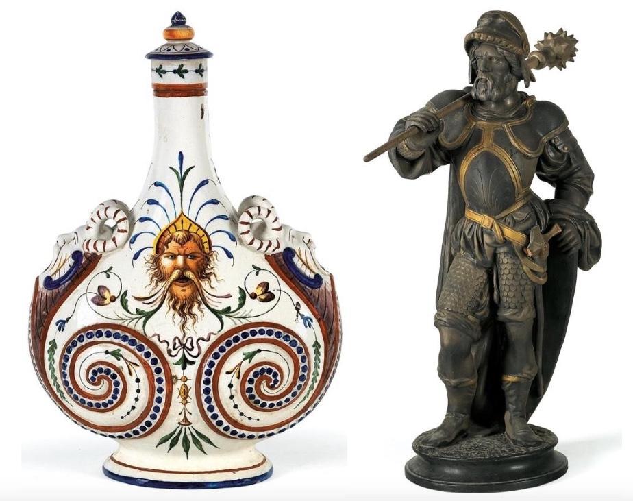 Links: Manufaktur Ginori - Majolika-Pilgerflasche, Doccia/San Fiorentino Ende 19. Jh. Rechts: Terrakottafigus eines Landsknechtes, dunkelbraun und goldfarben staffiert, Böhmen um 1870/80