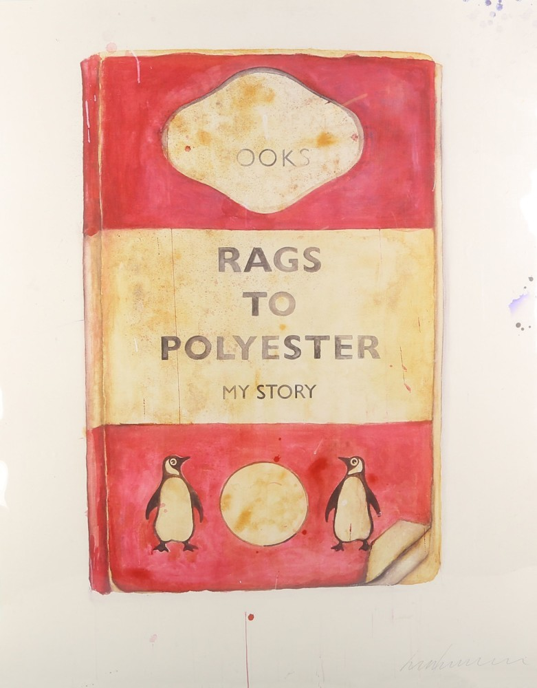 """Harland Miller, """"Rags to Polyester"""", 2014. Foto: Chiswick Auctions"""