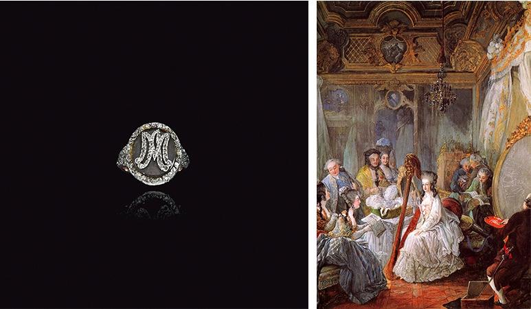 Links: Diamantring mit Haaren und den Initialen Marie Antoienttes. Erzielter Preis: 447.000 CHF (Foto: ©Sotheby's) Rechts: Jean-Baptiste André Gautier-Dagoty, Marie-Antoinette spielt die Harfe im Chambre de la Reine, 1777 (Château de Versailles)