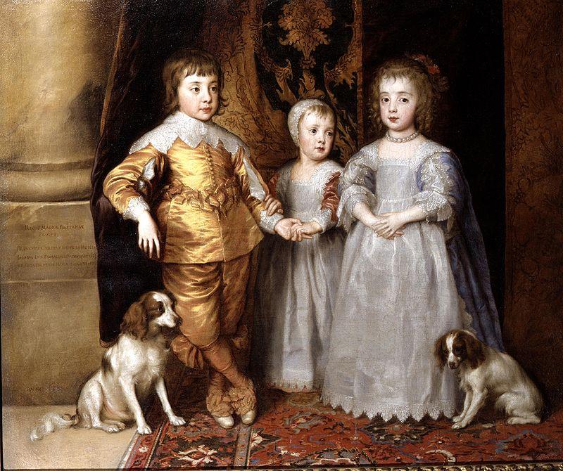 Anthonys van Dyck, Die drei ältesten Kinder Charles' I. mit zwei King Charles Spaniel, 1635/36, Queen's Gallery, Windsor Castle | Foto: Royal Collection Trust