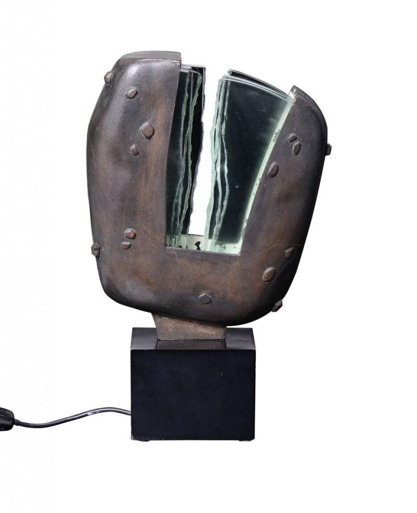 MAX INGRAND - Tischlampen-Skulptur aus Bronze und Glas mit Holzsocke, 26x43x10 cm, Fontana Arte, Italien, ca. 1960 Schätzpreis: 30.000-40.000 EUR