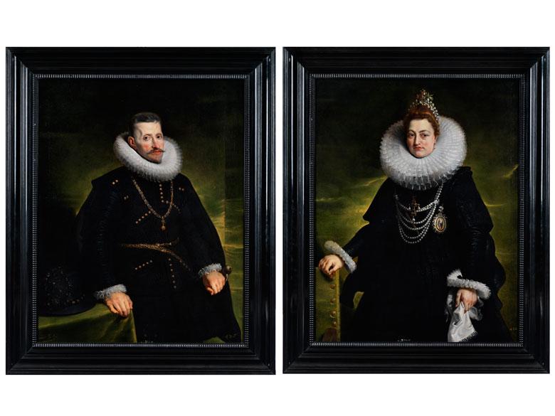 PETER PAUL RUBENS (1577 Siegen – 1640 Antwerpen) und Werkstatt - Erzherzog Albrecht (1559-1621) und dessen Gattin Isabella Clara Eugenia, Infantin von Spanien (1566-1633), Öl/Lwd., Bildnispaar