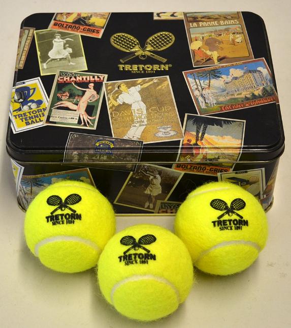Boîte de balles tennis vintage à l'occasion du 100e anniversaire de Tretorn Suède Mullock's