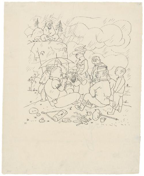 GEORGE GROSZ (1893-1959) - Germanentag, Feder in Schwarz auf chamoisfarbenem Velin, 45,8 x 36,7 cm, nummeriert und datiert, 1921 Schätzpreis: 30.000 EUR
