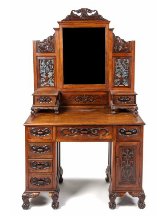Lot 188 * A Chinese Export Vanity, having foliate crest above the rectangular mirror, flanked by relief carved spandrels above pierced wood elements laid over mirrors, with ruyi carved glove drawers, the lower section with six drawers and a single cabinet door, all raised on beast mask carved squat legs, terminating in claw feet. Height 75 x width 44 x depth 22 inches. Estimate $ 400-600