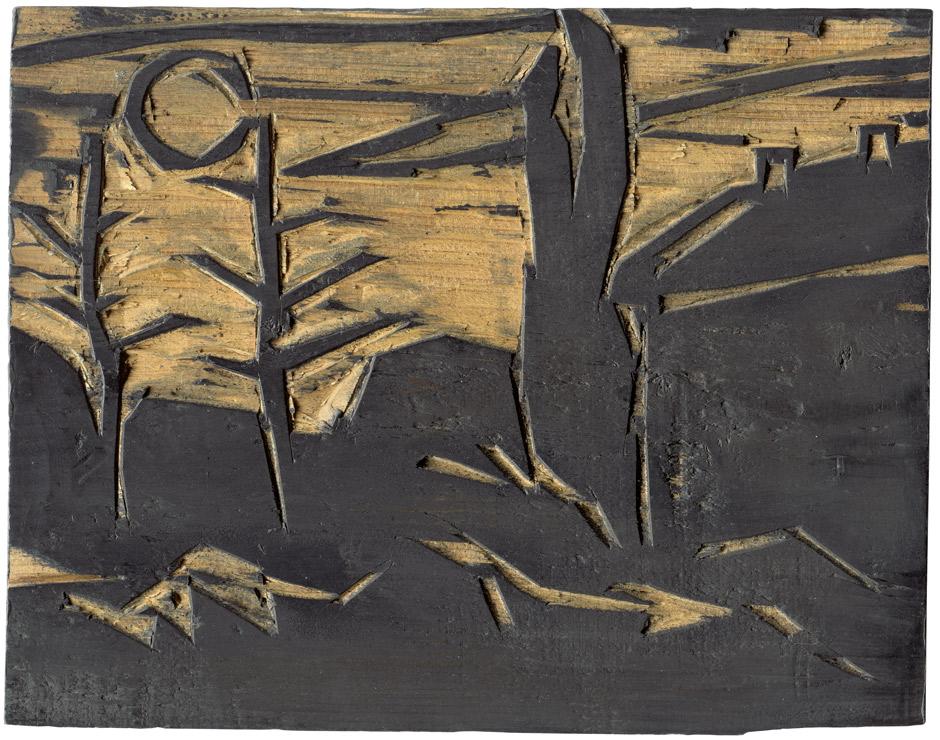 KARL SCHMIDT-ROTTLUFF (1884-1976) - Landschaft im Mondschein, Holzstock für den frühen und seltenen Holzschnitt, Fichtenholz, 20,1-20,5 x 26 cm, 1911 Schätzpreis: 20.000 EUR