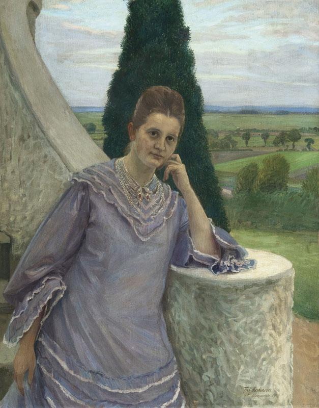 FRITZ MACKENSEN (1866 Braunschweig - 1953) - Margarethe Gocht vor dem Barkenhoff in Worpswede, Öl/Lwd., signiert und datiert, 1907