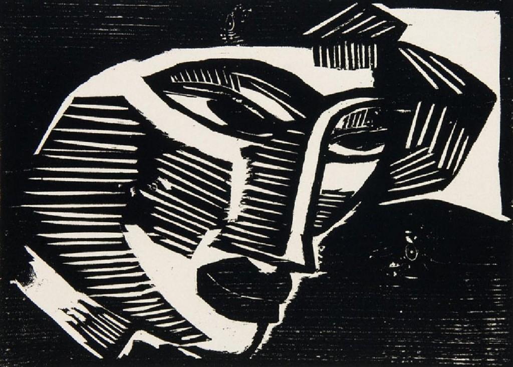 KARL SCHMIDT-ROTTLUFF (1884 Rottluff - 1976 Berlin) - Kopf, Holzschnitt/Papier, 1915/19